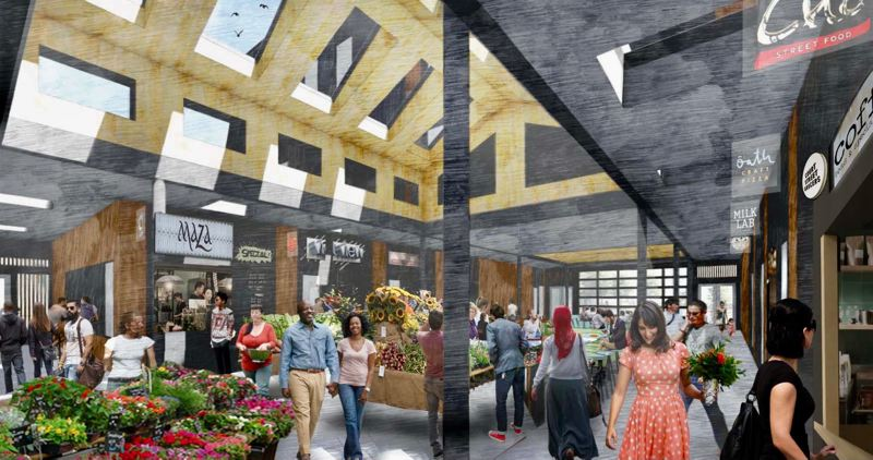 COURTESY RENDERING: CITY OF GRESHAM - The new market hall has more space for businesses.