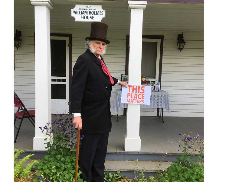 COURTESY PHOTO - 'Father of Oregon' Dr. John McLoughlin, played by former Oregon City Mayor Doug Neeley, appears at the Holmes House.