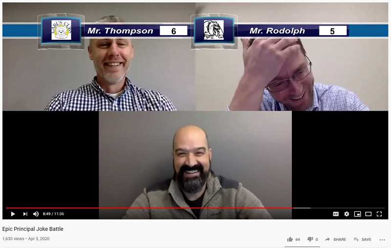 YOUTUBE - Principals Sam Thompson of Carus (left) and Skyler Rodolph of Ninety-One (right) compete in a joke battle. Principal Andy McKean of Eccles (bottom) moderates and judges.