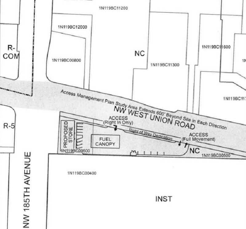 COURTESY MAP: WASHINGTON COUNTY LAND USE & TRANSPORTATION - A hearing that was planned for May 21 for a planned gas station and accompanying convenience store on the southeast corner of West Union Road and 185th Avenue has been continued until at a site formally occupied by the Mad Greek Deli.