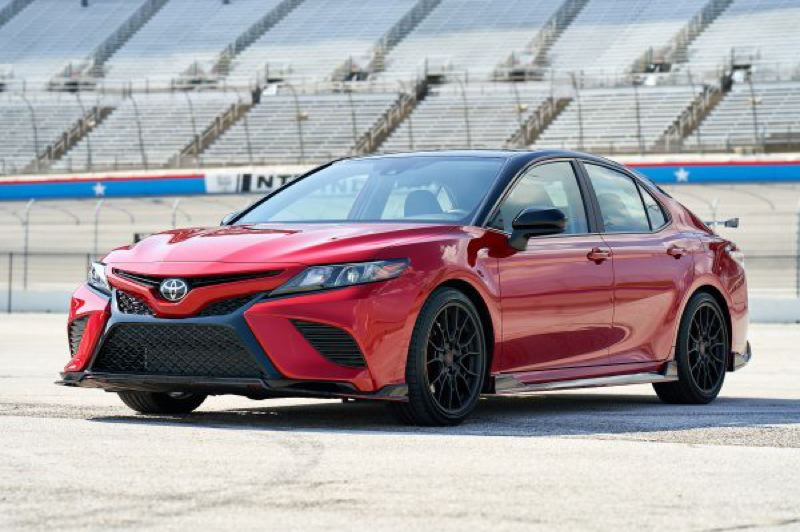 COURTESY TOYOTA USA - The 2020 Toyota Camry TRD is not just posing a race track — it inlcudes serious suspension and other upgrades that help it drive as good as it looks.