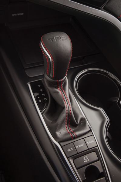 COURTESY TOYOTA USA - Buttons below the shifter allow drivers to set the 2020 Toyota Camry TRD in Eco, Normal or Sport mode.