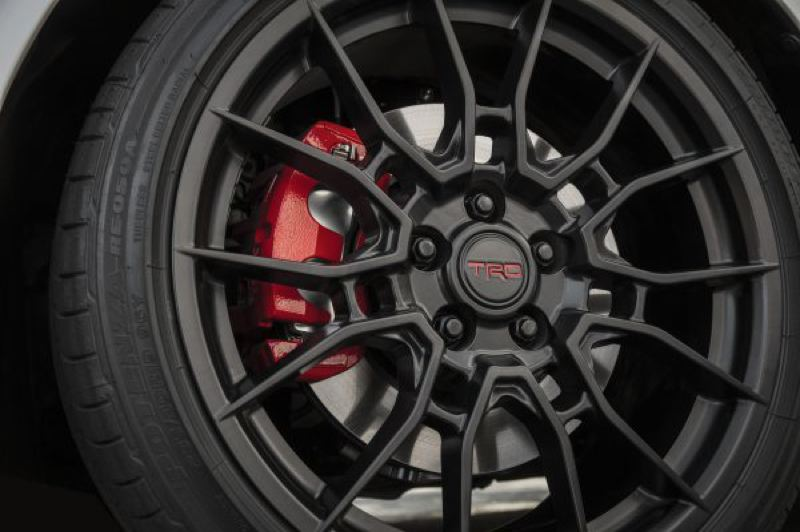 COURTESY TOYOTA USA - Bigger brake discs and four-piston calipers are part of the TRD upgrades.