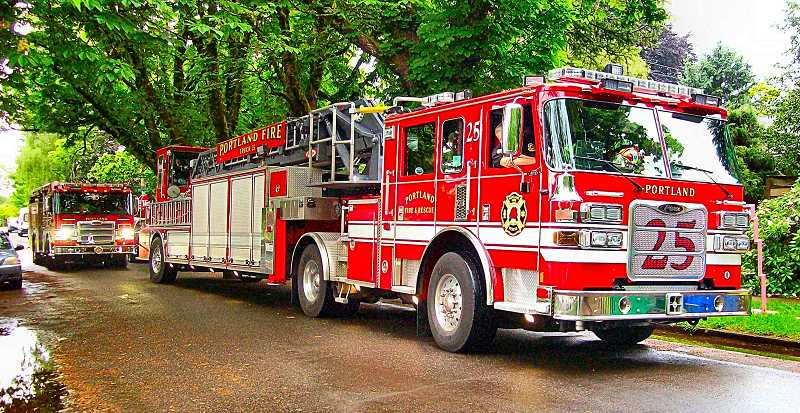 RITA A. LEONARD - From the Woodstock Fire Station, both Truck 25 and Engine 25 turned out in a special honor for Lucille and her birthday! Usually, the entire station only responds like this if you are on fire!