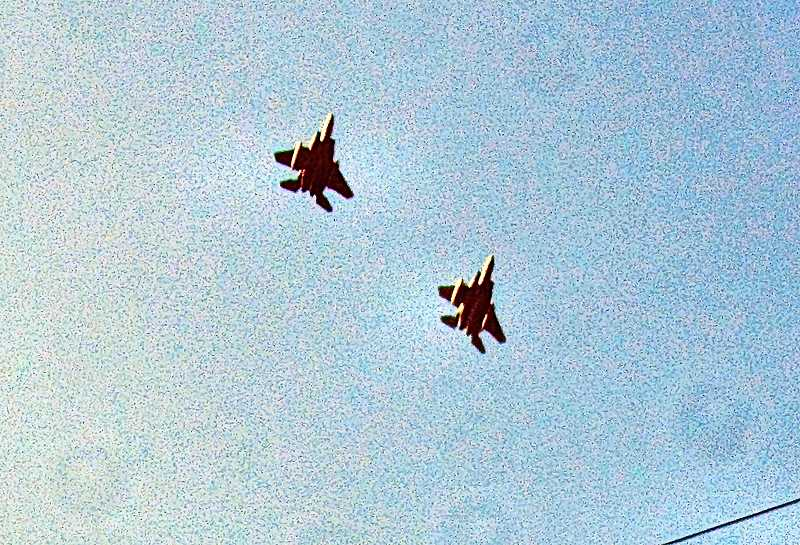ERIC NORBERG - The F-15 fighter jets were traveling so fast, and were low enough, that they had come and gone in just a few seconds. This is how they looked in the sky as they tore past Sellwood and Westmoreland, enroute to the OHSU Towers at the west end of the Ross Island Bridge.