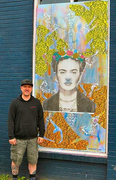 DAVID F. ASHTON - Artist Michael Mad One Neely II showed THE BEE his first Foster Road installation - a collage honoring legendary Mexican painter Frida Kahlo.