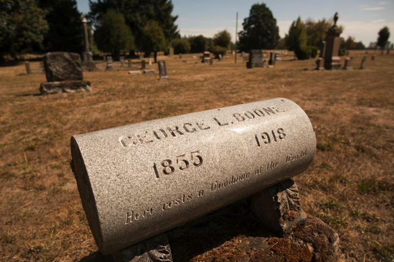 PMG FILE PHOTO - The only marker for Jesse V. Boones Butteville Pioneer Cemetery is for his son, George Law Boone, who died in 1918.