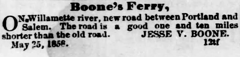 COURTESY PHOTO - A weekly newspaper advertisement touted Jesse V. Boone's road as 'a good one.'