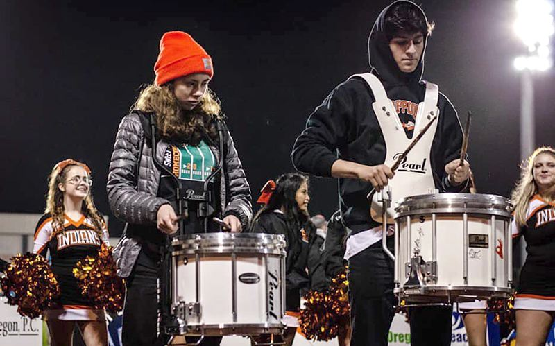 COURTESY PHOTO: SCAPPOOSE HIGH SCHOOL BAND - Looking ahead, members of the Scappoose marching band — including Sammie Wright (left) and Alex Myers — hope to return to performing together soon.