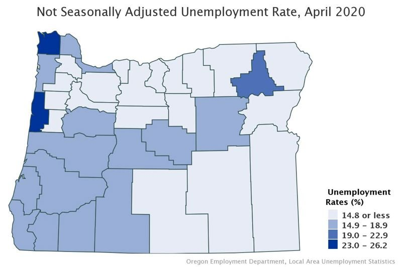 COURTESY: OREGON EMPLOYMENT DEPARTMENT - April was hard for job losses according to the Employment Department, which has broken the numbers down by county.