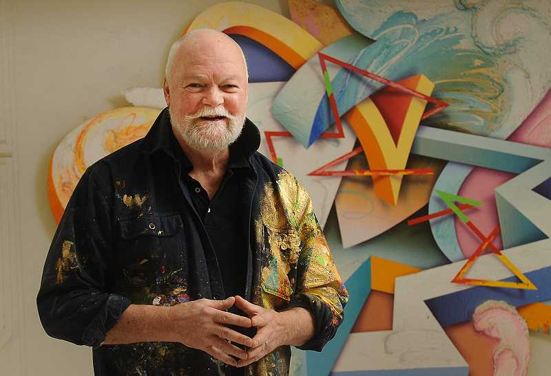 2017 PMG FILE PHOTO: VERN UTETAKE - Oak Grove artist George D. Green stands next to a piece titled 'Marooned in Dream: A Path of Song and Mind,' which he painted in 2013.