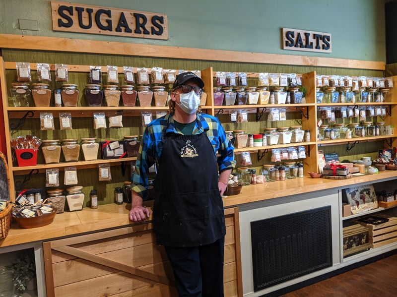 PMG: JOSEPH GALLIVAN - JP Burgbacher, owner of the Spice and Tea Exchange franchise at 536 S.W. Broadway, said he can hang on for a few more weeks with a government loan, but he needs tourists and working people to return to downtown to restart his business.