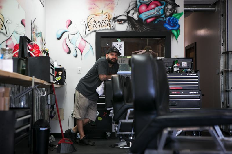 PMG PHOTO: JAIME VALDEZ - David Esparza, owner of Faded Up Barber Shop in Forest Grove, plans to reopen his shop as soon as county officials receive state approval.