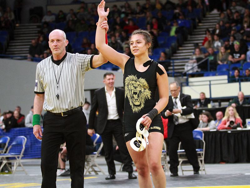 PMG PHOTO: MILES VANCE - West Linn's Destiny Rodriguez won a state championship back in February, then added another title on Wednesday, May 27, when she was named Prep Female Wrestler of the Year by the Oregon Sports Awards.