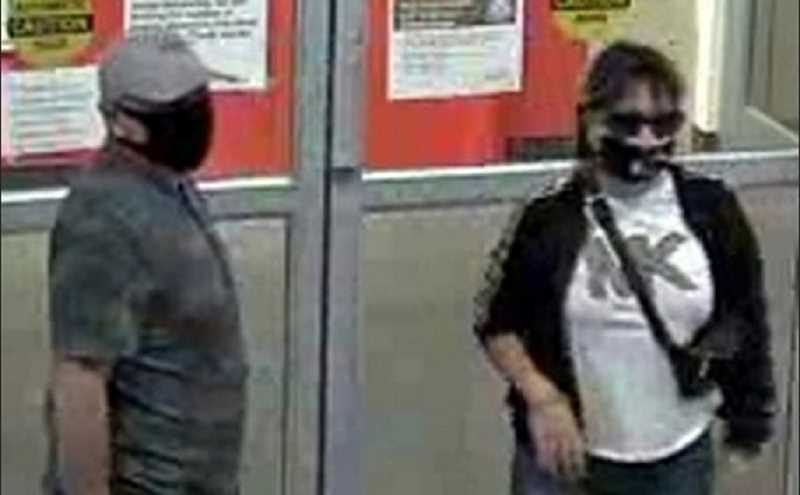 COURTESY PORTLAND POLICE BUREAU - Here are the two pickpockets -- they seemed less interested in protecting others with their masks than concealing their identities.  Does either one look familiar to you...?