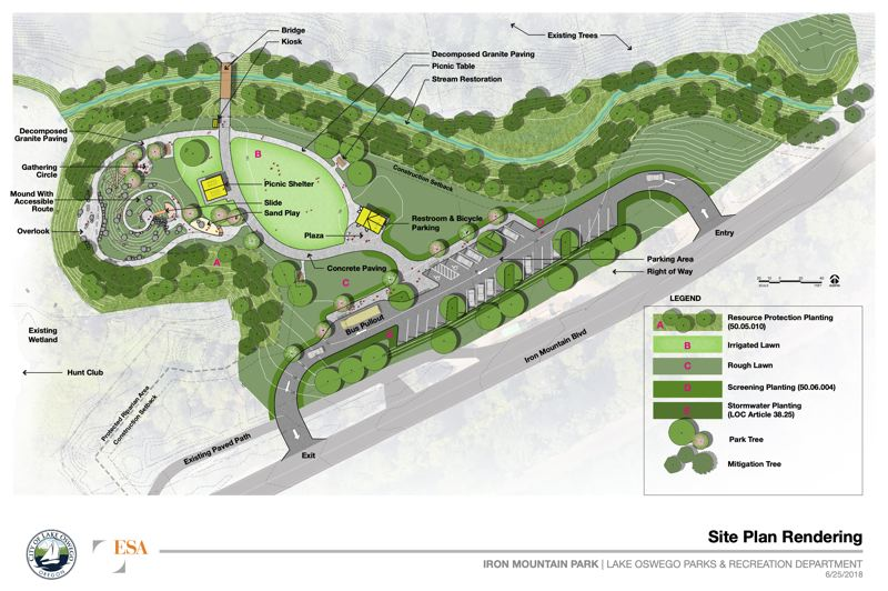 COURTESY PHOTO: CITY OF LAKE OSWEGO - Pictured here is the design graphic of Iron Mountain Park.