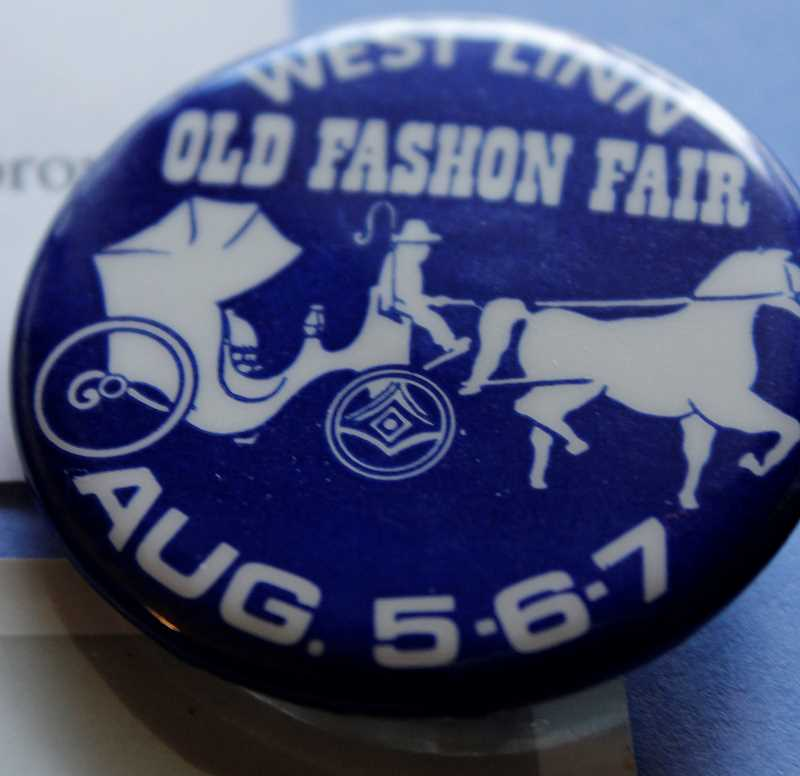 UPLOADED BY: PUGMIRE HOLE, LESLIE - Souvenir buttons were made in different colors every year and the old-time buggy logo was used into the new millenium. At some point, the fair went from Old Fashion ot Old Fashioned -- then to Old Time., West Linn Tidings - News Looking at the beginning of what is now known as  West Linn Old Time Fair 'The Willamette people built it'