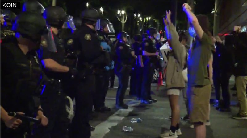 KOIN 6 NEWS - Protests outside the Justice Center in Portland early Friday.
