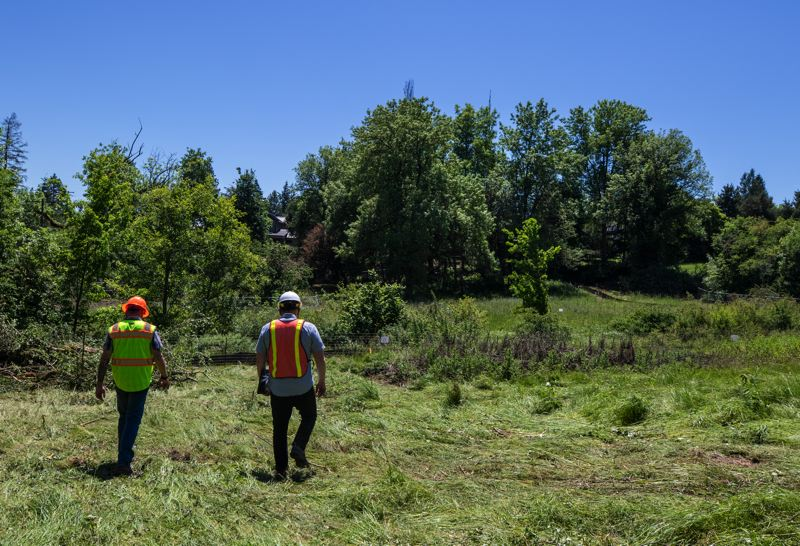PMG PHOTO: JONATHAN HOUSE - Park Analyst Bruce Powers, left and Landscape Architect Andrew Schneider walk through the developing Woodmont Natural Park in Lake Oswego.