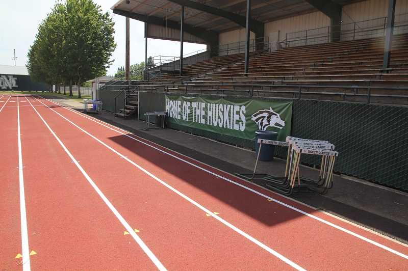 PMG PHOTO: JUSTIN MUCH - The North Marion High School athletic facilities have been quiet this spring due to COVID-19 closings. But a hybrid graduation ceremony will put the football field and track to work between 3 and 8 p.m. Friday, June 5.
