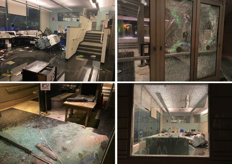 VIA MCSO - Protesters stormed the Multnomah County Justice Center on Friday, May 29 in downtown Portland, causing extensive damage, authorities say.