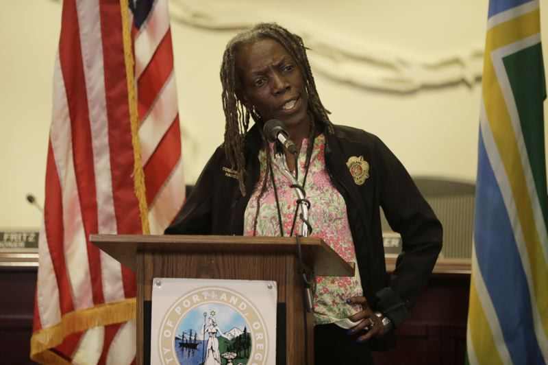 PMG PHOTO: JONATHAN HOUSE - Portland Commissioner Jo Ann Hardesty chastized the media during a press conference at City Hall on Saturday, May 30.