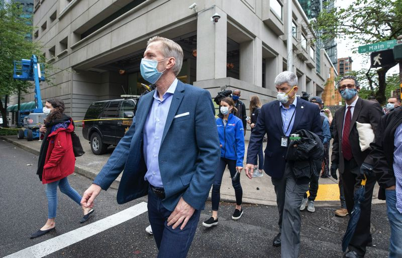 PMG PHOTO: JONATHAN HOUSE - Portland Mayor Ted Wheeler saw the damage to the Multnomah County Justice Center for the first time on Saturday, May 30.