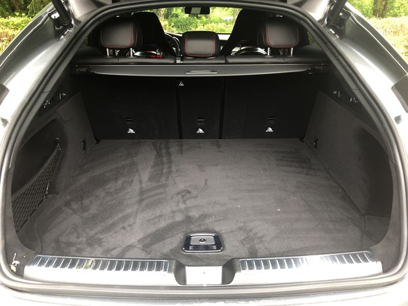 PMG PHOTO: JEFF ZURSCHMEIDE - 2020 Mercedes-Benz AMG GLC43 4MATIC has a pracitical side: a good amount of cargo space under the large hatch.