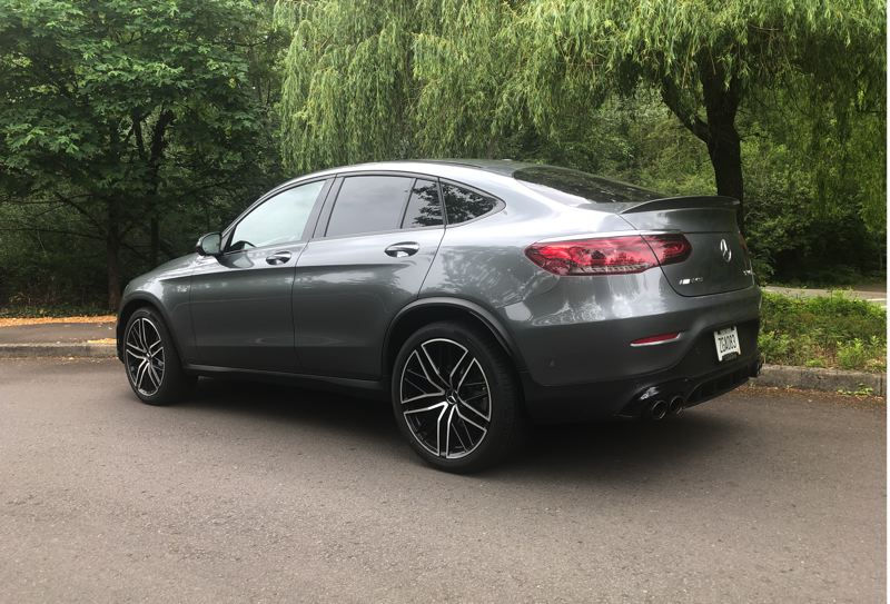 PMG PHOTO: JEFF ZURSCHMEIDE - The Mercedes AMG GLC 43 is kind of an SUV, but its fastback roofline says sports car. It's also a hatchback,