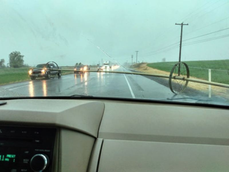 COURTESY PHOTO: ANITA LIMON - Anita Limon was headed to Redmond on Saturday, May 30, when pipes blew across Highway 97.