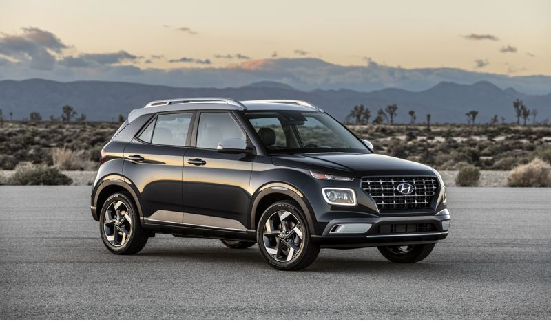 COURTESY HYUNDAI - The 2020 Hyundai Venue is an all-new subcompact crossover that offers a lot of featyures for the money (shown here in Denim trim).