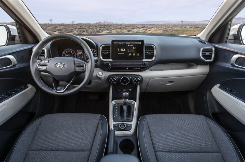 COURTESY HYUNDAI - The interior of the 2020 Hyundai Venue is remarkably room and comes loaded with tech features.