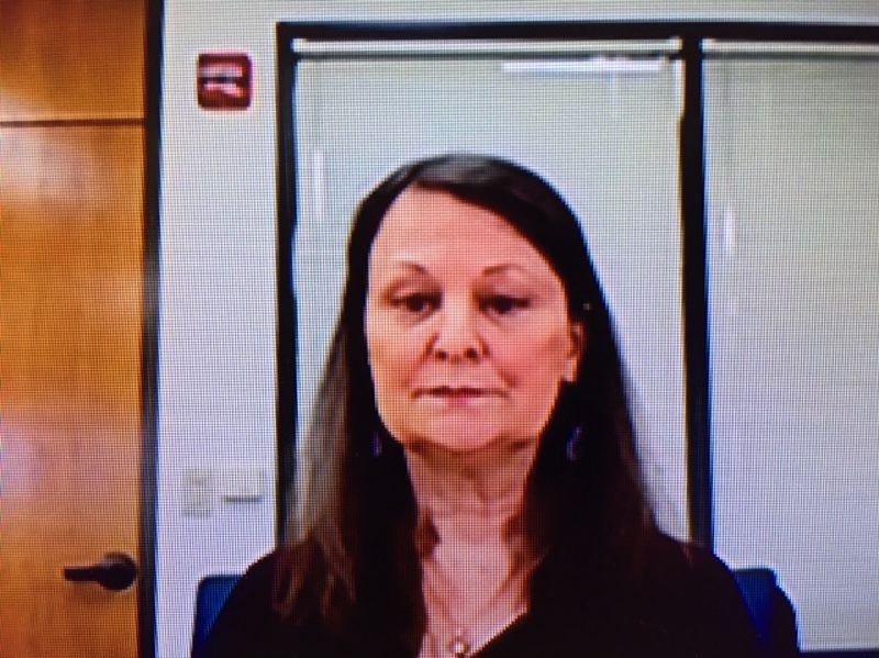 PMG PHOTO: PETER WONG - Kay Erickson via video Saturday, when she and another top Employment Department official were questioned by state lawmakers about the agency's backlog of unemployment claims and public inability to reach the staff. Gov. Kate Brown announced Sunday she asked for and got Erickson's resignation as director.