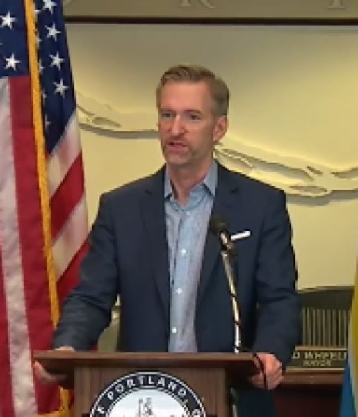 PMG SCREENSHOT - Mayor Ted Wheeler at the Monday morning press conference.