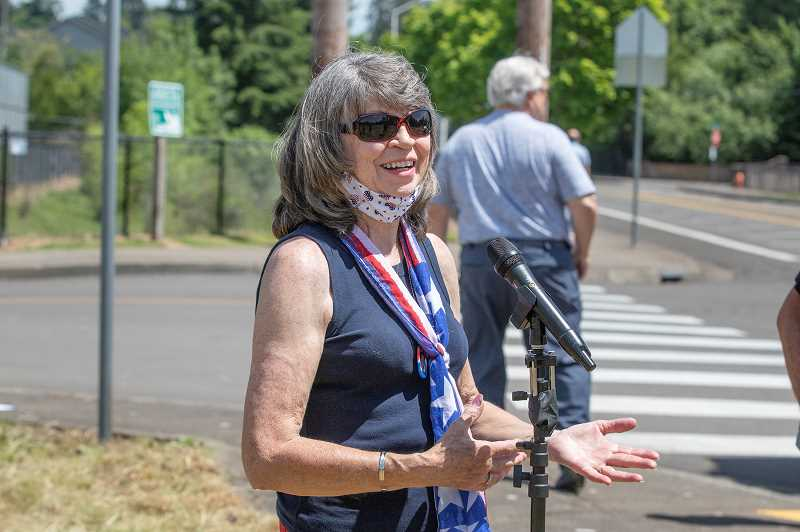 PMG PHOTO: JONATHAN HOUSE - Cheryl Bennett talks about the new Oregon City park that will be named after her son Tyrone Woods.