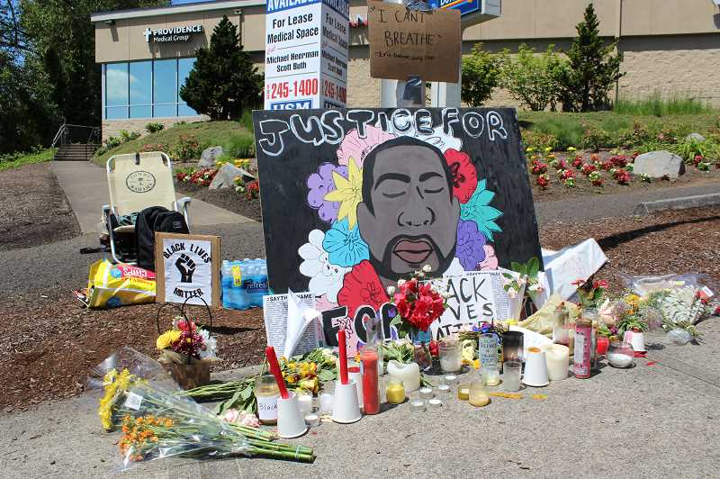 PMG PHOTO: HOLLY BARTHOLOMEW - Students created a shrine for George Floyd, a black man killed by police in Minneapolis May 25.
