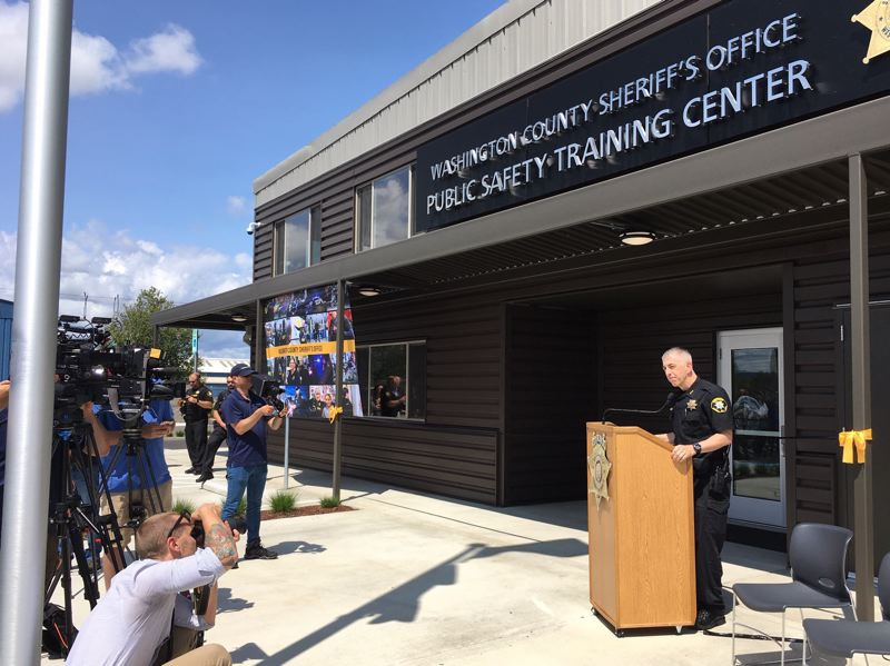 PMG FILE PHOTO: - Washington County Sheriff Pat Garrett speaking at the opening of the new public safety training center in Hillsboro on July 16, 2019.