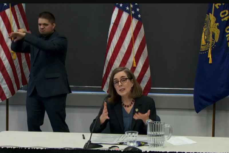 SCREENSHOT - Oregon Gov. Kate Brown announced the deployment of National Guard and State Police troops during a press conference on Monday, June 1.