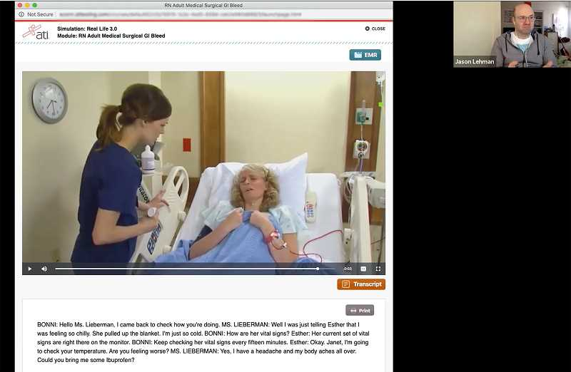 SCREENSHOT COURTESY OF PCC/ATI - In this virtual simulation, a nursing student guides patient care decisions via a software program. This semester, as Portland Community College campuses were shut down due to COVID-19, nursing students had to shift their hands-on training to the web.