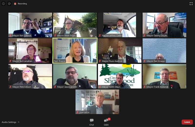 COURTESY PHOTO: WESTSIDE ECONOMIC ALLIANCE - The May 28 Westside Economic Alliance meeting was the first time mayors in Washington County all gathered via a Zoon video conference call.