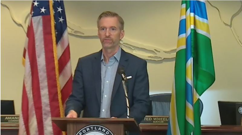 KOIN 6 NEWS - Mayor Ted Wheeler speaks at the Wednesday morning press conference.