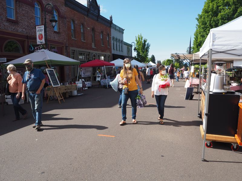 PMG PHOTO: MAX EGENER - The farmers market in Forest Grove opens for its first day of the season Wednesday, June 3, with new safety measures amid the coronavirus pandemic.