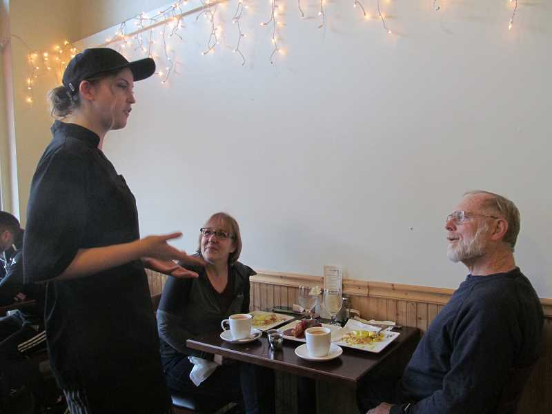 PMG FILE PHOTO: ELLEN SPITALERI - Denise Dorsey and her husband Walt tell Yvonne Haney, owner of Yvonne's in Oregon City, that they drive from West Linn to eat at the popular Oregon City restaurant that expanded into 818 Lounge in 2018.