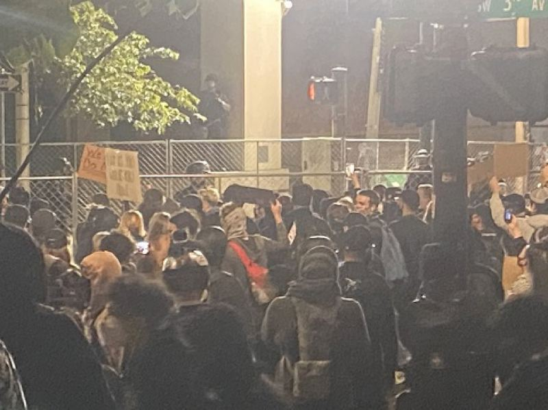 KOIN 6 NEWS - Protesters outside the downtown Justice Center early Friday.