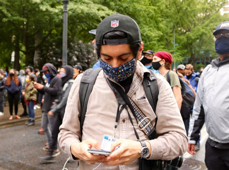 PMG PHOTO: ZANE SPARLING - Journalist Sergio Olmos has covered the downtown Portland protest for nine nights in a row.