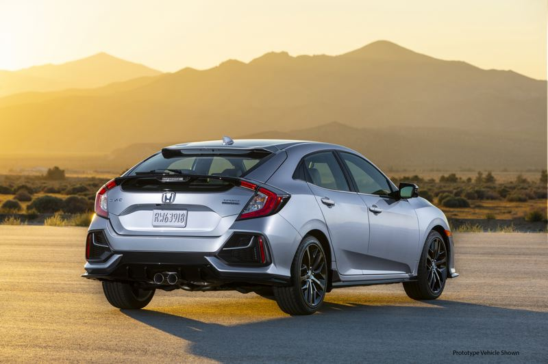 AMERICAN HONDA MOTOR CO. - Even the rear end looks good, and the dual exhaust is part of the Hatch Sport  package.