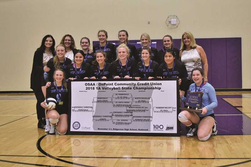 COURTESY PHOTO - The St. Paul High School volleyball team is the 2018-2019 1A state champion. The players, alongside the basketball team, will be grand marshals for the rodeo parade on July 4 in St. Paul. , Woodburn Independent - Sports Volleyball, girls basketball teams chosen as grand marshals for St. Paul Rodeo Parade St. Paul champions to lead rodeo parade