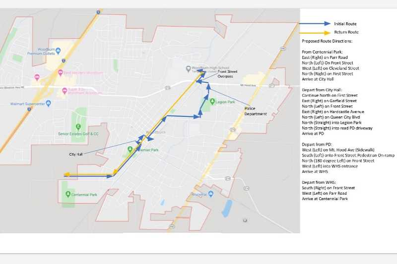 COURTESY OF CITY OF WOODBURN - This route has been established for the Woodburn #BLM march, which is scheduled to begin at 5 p.m. Friday, June 12.