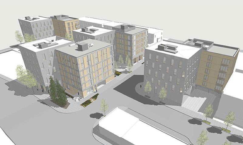 COURTESY: WAECHTER ARCHITECTURE AND JONES ARCHITECTURE  - Renderings showing eight small apartment buildings to be built of mass timber. The design maximizes corner units and windows. Northbound Collaborative will redevelop three acres just west of Northwest 29th Avenue and south of Nicolai Street or Highway 30. The developers concept is to build market rate apartments, as well as rowhouses that will house whole families, as happened in the 19th century.