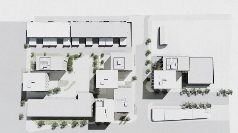 COURTESY: WAECHTER ARCHITECTURE AND JONES ARCHITECTURE  - Renderings showing eight small apartment buildings to be built of mass timber. The design maximizes corner units and windows. Northbound Collaborative will redevelop three acres just west of Northwest 29th Avenue and south of Nicolai Street or Highway 30.